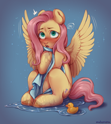 Size: 2597x2903 | Tagged: safe, artist:muhomora, fluttershy, pegasus, pony, blushing, blushing profusely, covering, emanata, female, high res, mare, open mouth, rubber duck, shy, sitting, speech bubble, spread wings, startled, three quarter view, towel, unshorn fetlocks, water, water droplet, wet, wings