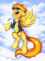 Size: 2979x4096 | Tagged: safe, artist:confetticakez, spitfire, pegasus, pony, blushing, clothes, cloud, cloudy, female, looking at you, mare, solo, spitfire's whistle, sunglasses, sunglasses on head, uniform, whistle, wings, wonderbolts dress uniform