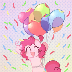 Size: 894x894 | Tagged: safe, artist:franshushu, pinkie pie, earth pony, pony, abstract background, balloon, blush sticker, blushing, confetti, cute, cutie mark, diapinkes, excited, eyelashes, eyes closed, female, floating, franshushu is trying to murder us, mare, open mouth, open smile, party balloon, smiling, solo, tail, then watch her balloons lift her up to the sky, weapons-grade cute