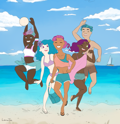 Size: 4661x4819   Tagged: safe, artist:ichiban-iceychan1517, artist:laurenstea, color edit, edit, hitch trailblazer, izzy moonbow, pipp petals, sunny starscout, zipp storm, human, g5, alternate hairstyle, armpits, bag, barefoot, beach, belly button, bikini, bikini bottom, bikini top, boat, clothes, cloud, collaboration, colored, dark skin, eyes closed, feet, female, grin, humanized, male, mane five (g5), midriff, ocean, one eye closed, open mouth, partial nudity, sand, sandals, shorts, siblings, sisters, sky, smiling, sports, swimsuit, topless, twins, volleyball, water, wink