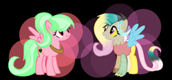 Size: 1544x715   Tagged: safe, artist:aonairfaol, oc, oc only, draconequus, hybrid, pegasus, pony, abstract background, base used, draconequus oc, duo, eyelashes, female, grin, interspecies offspring, mare, offspring, parent:big macintosh, parent:discord, parent:fluttershy, parents:discoshy, parents:fluttermac, pegasus oc, smiling, wings, yoke