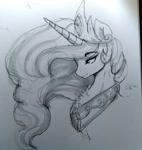Size: 1808x1916 | Tagged: safe, artist:thelunarmoon, princess celestia, alicorn, pony, monochrome, solo, traditional art