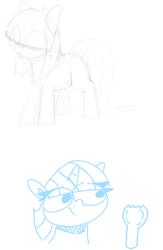 Size: 599x919 | Tagged: safe, artist:lockheart, twilight sparkle, oc, oc:dot matrix, earth pony, pony, unicorn, bucktooth, duo, female, hair over eyes, mare, monochrome, simple background, sketch, spork, white background
