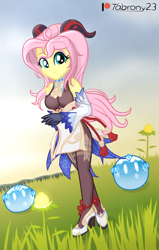 Size: 1294x2034   Tagged: safe, artist:tabrony23, fluttershy, equestria girls, beautiful, breasts, clothes, cosplay, costume, cute, female, ganyu (genshin impact), genshin impact, gloves, high res, horns, looking at you, patreon, patreon logo, shoes, slimes (genshin impact), solo, sunset