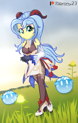 Size: 1294x2034 | Tagged: safe, alternate version, artist:tabrony23, fluttershy, equestria girls, beautiful, breasts, clothes, cosplay, costume, cute, female, ganyu (genshin impact), genshin impact, gloves, high res, horns, looking at you, patreon, patreon logo, shoes, slimes (genshin impact), solo, sunset