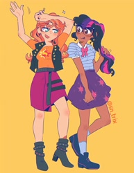 Size: 3092x4000 | Tagged: safe, artist:sn_trix, sci-twi, sunset shimmer, twilight sparkle, equestria girls, boots, clothes, dark skin, female, glasses, high heel boots, human coloration, lesbian, light skin, scitwishimmer, shipping, shoes, simple background, skirt, socks, sunsetsparkle, vest, yellow background