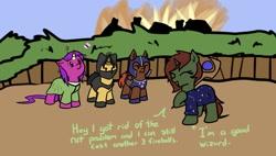 Size: 1717x973 | Tagged: safe, artist:neuro, oc, oc only, bat pony, pony, unicorn, fire