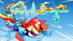 Size: 4096x2301 | Tagged: safe, artist:nekosnicker, lightning dust, rainbow dash, pegasus, pony, album cover, eyes closed, flying, racing