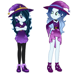 Size: 2192x2222 | Tagged: safe, artist:skyfallfrost, oc, oc:azure blush, oc:midnight, equestria girls, clothes, costume, halloween, halloween costume, hat, simple background, transparent background, witch hat