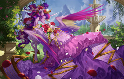 Size: 4500x2860 | Tagged: safe, artist:makkah, artist:mmgrace, princess cadance, alicorn, pony, alternate hairstyle, clothes, colored wings, dress, eyes closed, female, flower, flower in hair, fountain, garden, high res, mare, multicolored wings, petals, rose, smiling, solo, spread wings, wings