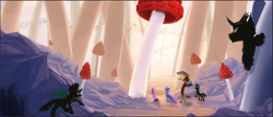 Size: 1566x670 | Tagged: safe, artist:tofuslied-, derpibooru exclusive, discord, starlight glimmer, thorax, trixie, changeling, draconequus, pony, female, looking around, looking up, male, mushroom, reformed four, scenery