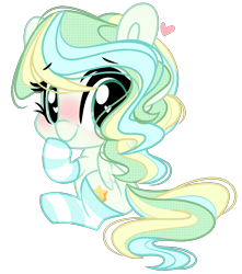 Size: 2269x2563 | Tagged: safe, artist:emberslament, vapor trail, pegasus, pony, blushing, chibi, clothes, cute, female, heart eyes, looking back, mare, simple background, sitting, socks, solo, striped socks, transparent background, vaporbetes, wingding eyes