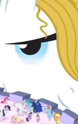 Size: 627x999 | Tagged: safe, artist:hereward, applejack, fluttershy, pinkie pie, prince blueblood, princess celestia, princess luna, rainbow dash, rarity, spike, twilight sparkle, pony, fanfic:big business, canterlot, canterlot castle, collage, fanfic art, giant pony, giant unicorn, growth spell, macro, mega giant, smug