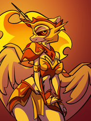 Size: 1536x2048   Tagged: safe, artist:dodsie, daybreaker, alicorn, anthro, armor, belly button, breasts, female, gradient background, looking at you, smiling, solo, unconvincing armor
