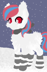 Size: 194x300   Tagged: safe, oc, oc:snowi, unicorn, blue hair, clothes, female, mare, red eyes, red hair, snow, socks