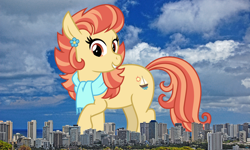 Size: 2994x1795   Tagged: safe, artist:cheezedoodle96, aunt holiday, earth pony, pony, female, giant pony, giant/macro earth pony, giantess, hawaii, highrise ponies, honolulu, irl, macro, mare, mega giant, photo, ponies in real life