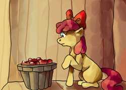 Size: 1322x953 | Tagged: safe, artist:justalittleamerican, earth pony, apple, bucket, female, filly, food, solo