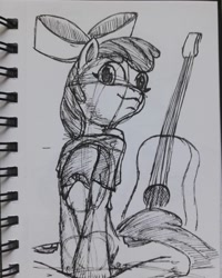 Size: 1080x1350 | Tagged: safe, artist:rockhoppr3, apple bloom, earth pony, female, filly, guitar, musical instrument, solo