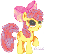 Size: 819x616 | Tagged: safe, artist:epicponydrawings, apple bloom, earth pony, female, filly, raised hoof, solo