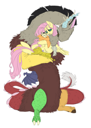 Size: 3194x4458 | Tagged: safe, artist:snspony, discord, fluttershy, draconequus, hybrid, pegasus, pony, discoshy, female, high res, holding a pony, interspecies offspring, male, offspring, parent:discord, parent:fluttershy, parents:discoshy, shipping, simple background, straight, white background