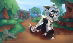 Size: 4000x2356 | Tagged: safe, artist:dedfriend, oc, oc only, oc:kate braxton, earth pony, pegasus, pony, armor, castle, cloak, clothes, female, flag, guard, medieval, outdoors, path, rock, scenery, spear, tree, walking, weapon