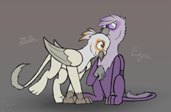 Size: 3054x2000   Tagged: safe, artist:somber, oc, oc only, griffon, fallout equestria, duo, fallout equestria: longtalons, female, glasses, griffon oc, male, nuzzling