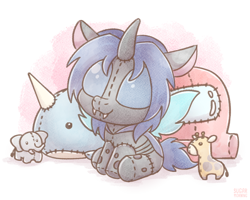 Size: 1280x1024   Tagged: safe, artist:sugar morning, oc, oc only, oc:swift dawn, changeling, elephant, giraffe, narwhal, original species, plush pony, pony, among us, blue changeling, blue eyes, changeling oc, commission, crewmate, cute, cuteling, disguise, disguised changeling, fangs, horn, living object, ocbetes, plushie, simple background, solo, suspicious, wings