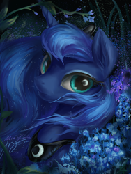 Size: 3000x4000 | Tagged: safe, artist:musical ray, derpibooru exclusive, princess luna, alicorn, pony, bust, female, flower, mare, portrait, solo
