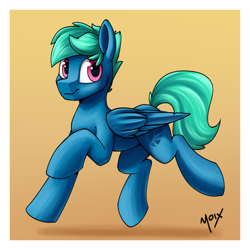 Size: 2000x2000 | Tagged: safe, artist:supermoix, oc, oc:supermoix, pegasus, pony, cute, floating, folded wings, happy, looking back, male, simple background, solo, stallion, wings