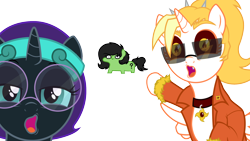 Size: 1920x1080 | Tagged: safe, artist:facelessjr, oc, oc only, oc:dyx, oc:filly anon, oc:nyx, alicorn, earth pony, alicorn oc, clothes, collar, earth pony oc, female, filly, fixed, glasses, headband, horn, meme, pointing, shitposting, simple background, soyboy, squatpony, sunglasses, transparent background, updated, vector, wings