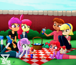 Size: 1200x1020   Tagged: safe, artist:theretroart88, apple bloom, scootaloo, sweetie belle, equestria girls, annika settergren, cardigan, clothes, cupcake, cutie mark crusaders, drink, eating, female, food, jeans, lying down, male, midriff, pants, picnic, pie, pippi longstocking, prone, sandals, sandwich, shirt, shoes, shorts, sneakers, striped shirt, t-shirt, the pose, thomas settergren