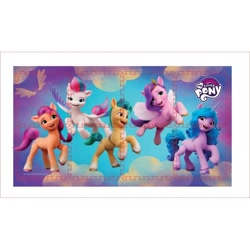 Size: 600x600 | Tagged: safe, hitch trailblazer, izzy moonbow, pipp petals, sunny starscout, zipp storm, earth pony, pegasus, pony, unicorn, g5, official, abstract background, female, male, mane five (g5), mare, merchandise, my little pony logo, playmat, stallion