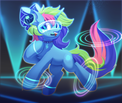 Size: 4277x3615 | Tagged: safe, artist:neverend, oc, pony, unicorn, bowtie, collar, digital googles, headphones, horn, neon, neon background, simple background, unicorn oc