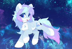 Size: 3508x2426 | Tagged: safe, alternate version, artist:neverend, oc, pony, unicorn, collar, complex background, ear piercing, earring, horn, jewelry, no shading, piercing, solo, space, unicorn oc