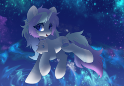 Size: 3508x2426 | Tagged: safe, alternate version, artist:neverend, oc, pony, unicorn, collar, complex background, ear piercing, earring, horn, jewelry, piercing, shading, space, unicorn oc