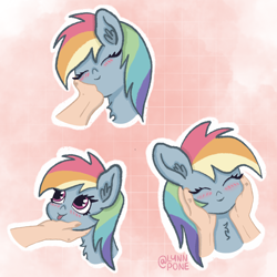 Size: 2048x2048 | Tagged: safe, artist:lynnpone, rainbow dash, human, pegasus, pony, :p, awww, blushing, chest fluff, cute, disembodied hand, ear fluff, hand, offscreen character, offscreen human, solo, tongue out
