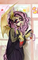 Size: 846x1338 | Tagged: safe, artist:pastelperyton, fluttershy, bat pony, anthro, bat ponified, cellphone, emoshy, flutterbat, phone, race swap, smoothie, solo