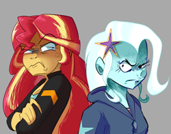 Size: 1380x1080 | Tagged: safe, artist:beefgummies, artist:fatjelyfish, sunset shimmer, trixie, equestria girls, friendship games, aggie.io, angry, clothes, cross-popping veins, crossed arms, duo, female, freckles, fringe, gray background, hairpin, jacket, looking at each other, peppered bacon, simple background