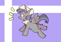 Size: 750x512   Tagged: safe, artist:asprin white rabbit, oc, oc only, pegasus, pony, abstract background, clothes, hat, pegasus oc, scarf, solo, wings