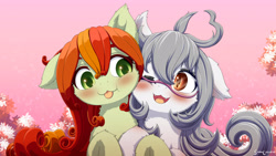 Size: 3550x2000 | Tagged: safe, artist:symbianl, oc, oc:flower, oc:lai chi, bat pony, original species, plant pony, pony, blushing, cute, cute little fangs, fangs, floppy ears, glasses, looking at each other, ocbetes, plant, snuggling, tongue out