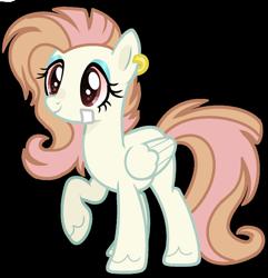 Size: 1280x1330 | Tagged: safe, artist:venomous-cookietwt, oc, pegasus, pony, bandaid, female, mare, offspring, parent:bulk biceps, parent:fluttershy, parents:flutterbulk, simple background, solo, transparent background