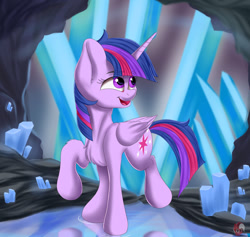 Size: 1280x1213 | Tagged: safe, artist:joaothejohn, twilight sparkle, alicorn, cave, crystal, looking back, solo