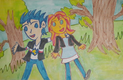 Size: 1280x837 | Tagged: safe, artist:dex stewart, flash sentry, sunset shimmer, human, equestria girls, couple, female, flashimmer, male, shipping, straight, traditional art