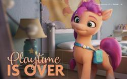 Size: 2880x1800 | Tagged: safe, applejack, pinkie pie, rainbow dash, rarity, sunny starscout, earth pony, pegasus, pony, unicorn, g5, my little pony: a new generation, bed, female, headline, lamp, magazine, mare, princess celestia's cutie mark, text, toy
