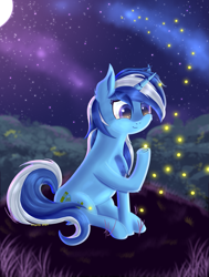 Size: 1625x2145 | Tagged: safe, artist:divifilly, minuette, pony, unicorn, field, night, solo