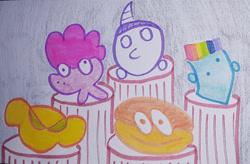 Size: 1280x842 | Tagged: safe, artist:dex stewart, applejack, fluttershy, pinkie pie, rainbow dash, rarity, earth pony, pegasus, pony, unicorn, traditional art, wtf