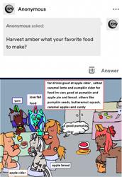 Size: 1171x1705 | Tagged: safe, artist:ask-luciavampire, oc, earth pony, pegasus, pony, unicorn, zebra, ask, ask-ponys-gamer-club, food, tumblr