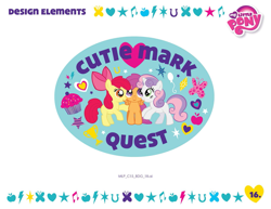 Size: 750x579   Tagged: safe, artist:kendrah smith, apple bloom, scootaloo, sweetie belle, earth pony, pegasus, pony, unicorn, balloon, cutie mark crusaders, cutie mark quest, design elements, female, filly, heart, my little pony logo, stars, stock vector, style guide, trio