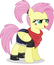 Size: 3856x4646   Tagged: safe, artist:anime-equestria, fluttershy, pegasus, alternate hairstyle, bandana, clothes, ear piercing, female, mare, piercing, ponytail, shoes, simple background, solo, transparent background, vector, wings