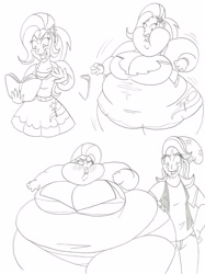 Size: 2120x2828   Tagged: safe, artist:catstuxedo, starlight glimmer, trixie, equestria girls, belly, big belly, big breasts, bingo wings, breasts, chubby cheeks, fat, fat boobs, huge belly, huge breasts, impossibly large belly, impossibly large thighs, impossibly wide hips, lineart, morbidly obese, obese, the ass was fat, the great and bountiful trixie, thighs, thunder thighs, weight gain, wide hips